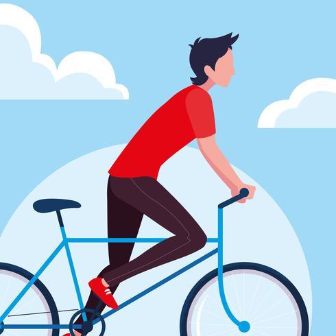 giovane che guida la bici vettore