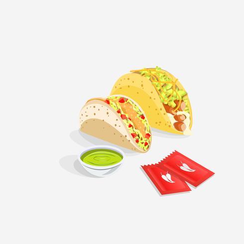 Tacos messicani realistici con salsa vettore