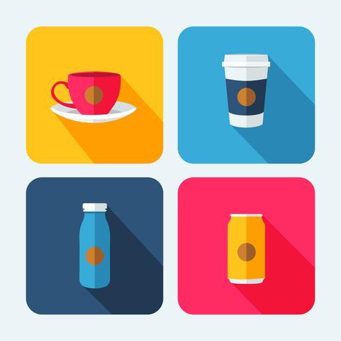 Bevande Set di icone di bevande con le ombre vettore