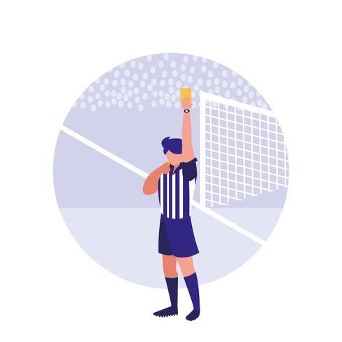 personaggio di avatar cartellino giallo arbitro di calcio vettore