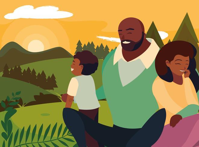 genitori con la famiglia di bambini nel paesaggio di giorno di autunno vettore