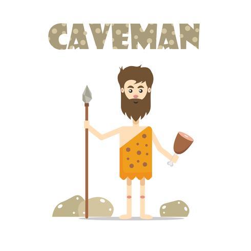 Uomo delle caverne primitivo con lancia e cibo vettore