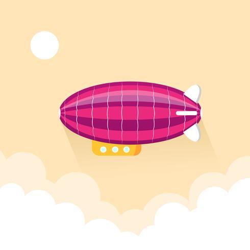 Un dirigibile gonfiato che vola nel cielo vettore