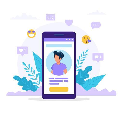 Profilo dei social media per smartphone. vettore