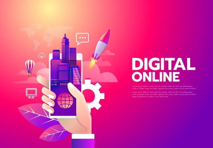 Shopping online digitale vettore