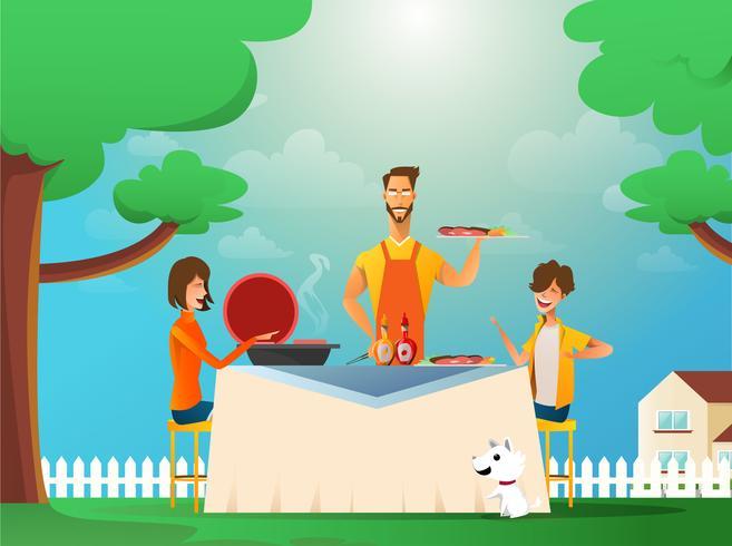 Famiglia che mangia all'aperto vettore