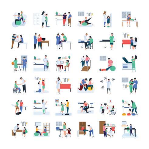 Pack di icone per medici e medici vettore
