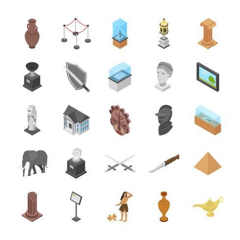Pacchetto icone oggetti museo vettore