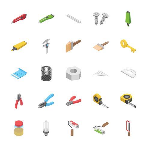 Pacchetto isometrico delle icone degli oggetti degli strumenti della costruzione vettore
