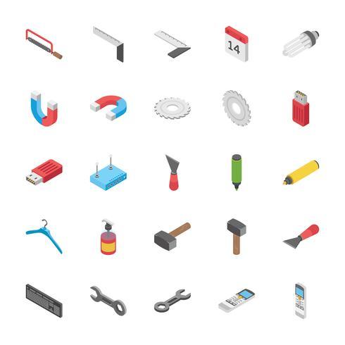 Insieme isometrico delle icone degli oggetti degli strumenti vettore