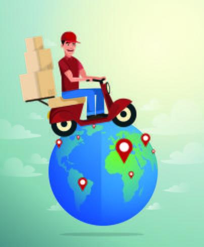 Consegna in tutto il mondo. vettore