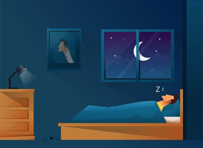 Uomo che dorme nel letto vettore