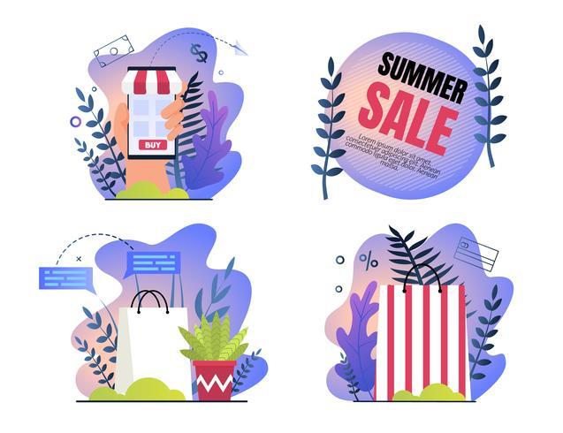 Imposta poster di invito è saldi estivi scritti. vettore