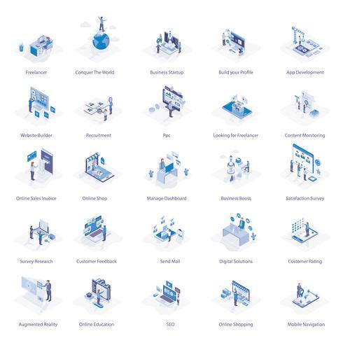 Pack di icone di affari online vettore