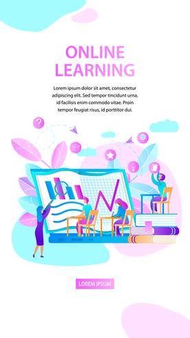 Banner verticale di apprendimento online vettore