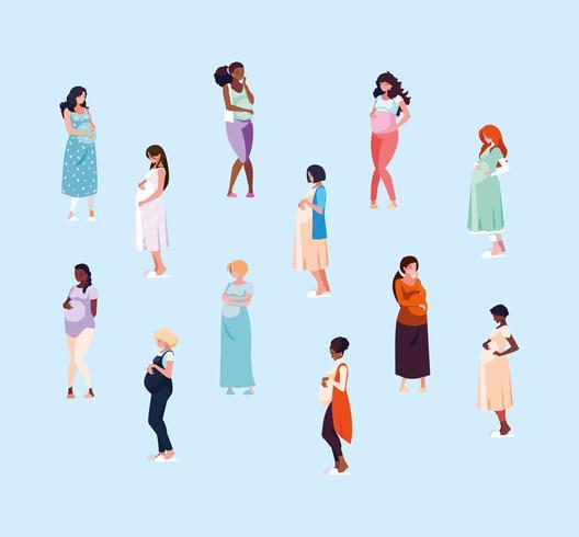 gruppo di donne in gravidanza vettore