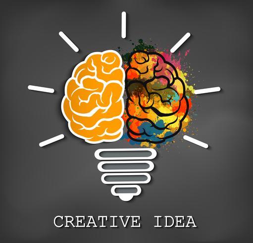 icona del cervello creativo con scintilla lampadina vettore