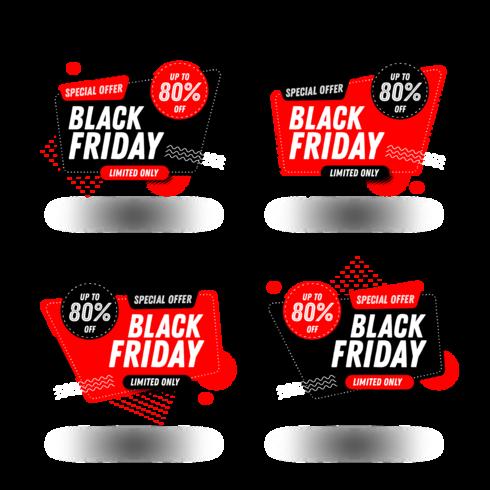 Set di banner di vendita del Black Friday vettore