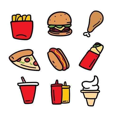 Set di doodle disegnato a mano fast food vettore