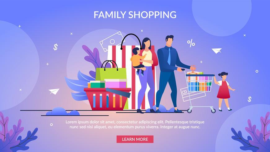 Poster informativo scritto Shopping per famiglie vettore