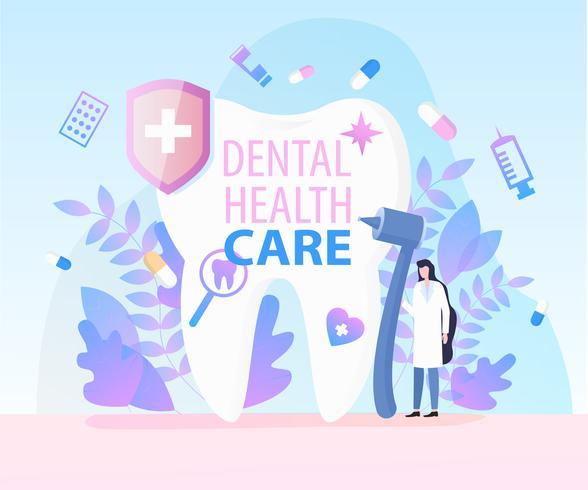 Assistenza sanitaria dentale dell'attrezzatura medica dal dentista della donna vettore
