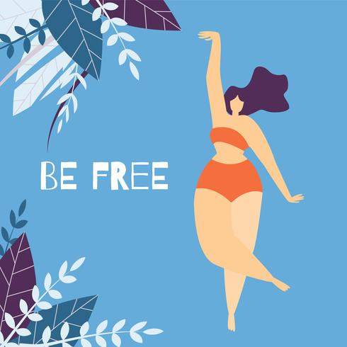 Be Free Woman Motivational Lettering Banner piatto vettore