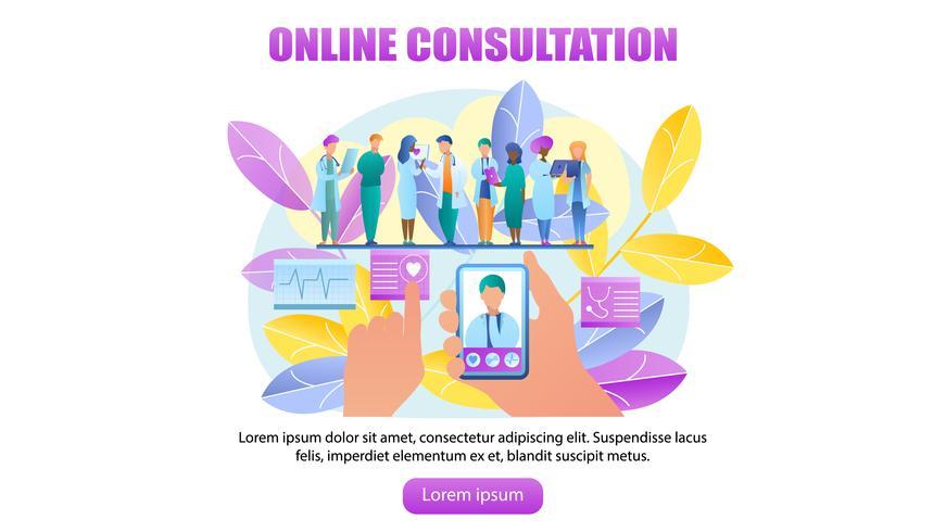 Consultazione online medico vettore