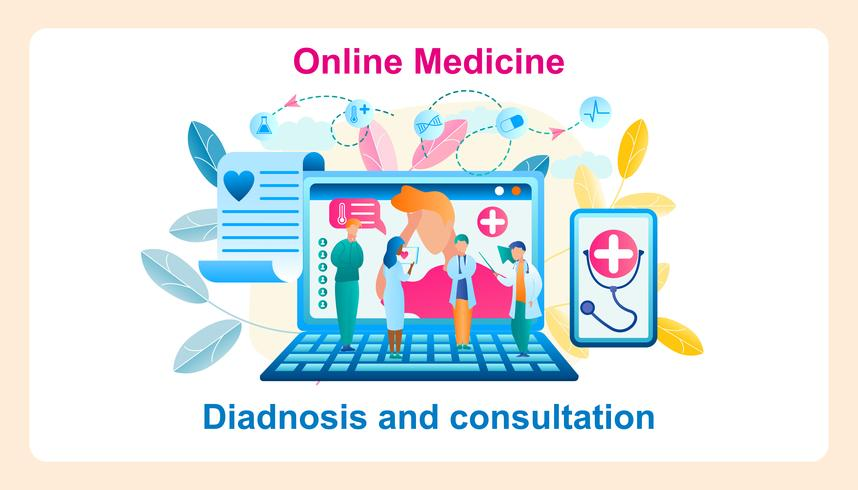 Medicina online del sistema moderno dell'insegna vettore
