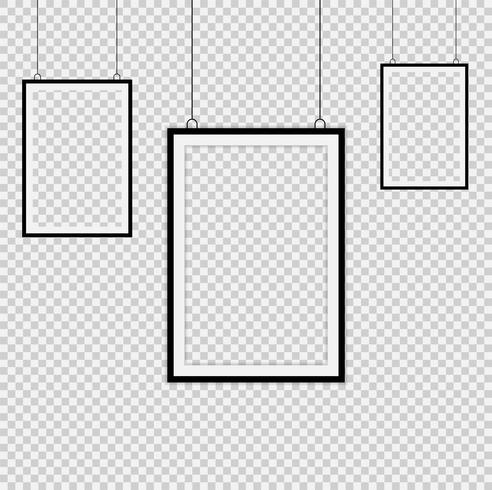Set di cornici nere vettore