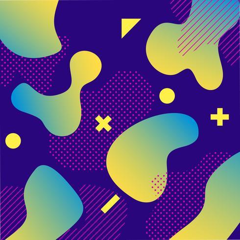 Disegno di sfondo di colore liquido viola e verde con composizione di forme alla moda vettore