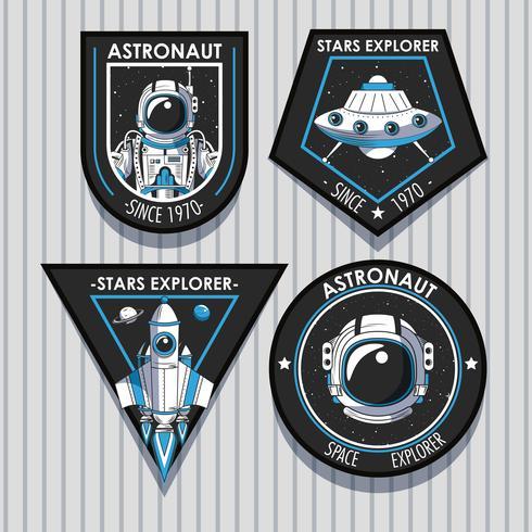 Set di Space explorer patch emblemi design vettore