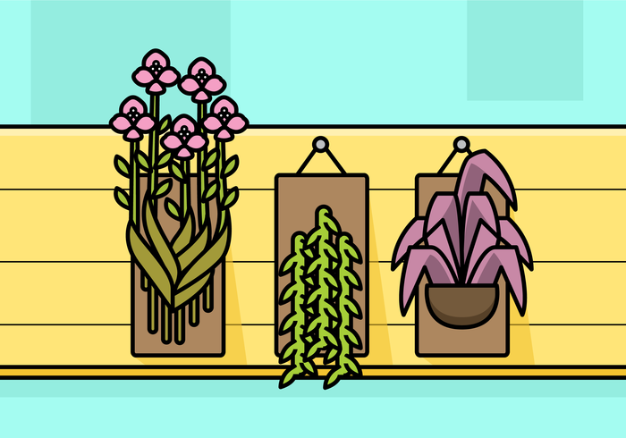 Set di piante botaniche sospese vettore