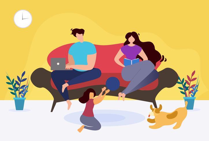Riposa e rilassati a casa Famiglia tematica vettore