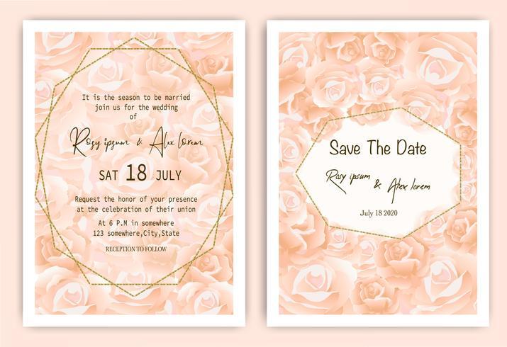 Carta di invito matrimonio rosa Cornice disegnata a mano floreale vettore