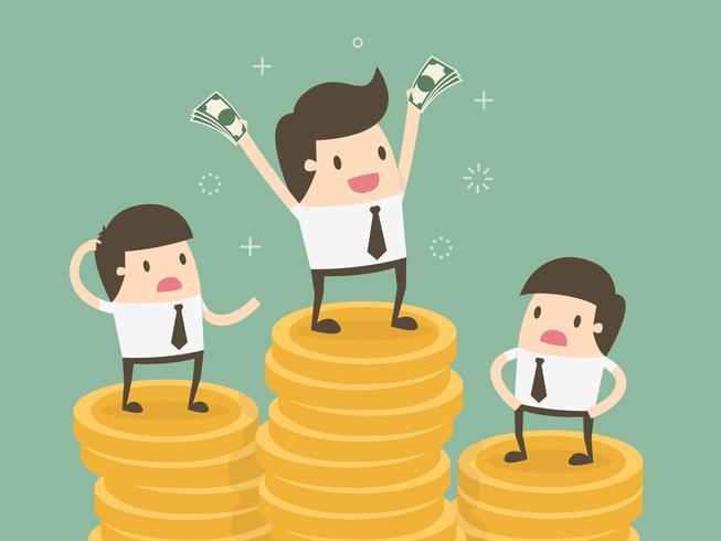 Uomini d'affari con stipendi diversi vettore