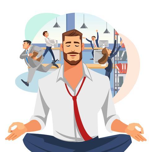 Uomo d'affari meditando in ufficio vettore