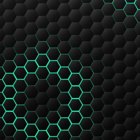 Disegno del modello di tecnologia esagonale nera e verde vettore