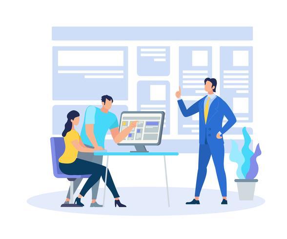 Business Coach Dimostrando informazioni di apprendimento vettore