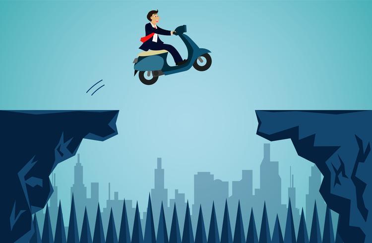 Uomo d'affari in sella a una moto vettore