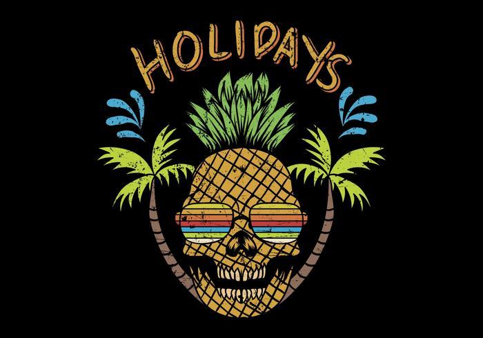 cranio di ananas con testo festivo vettore