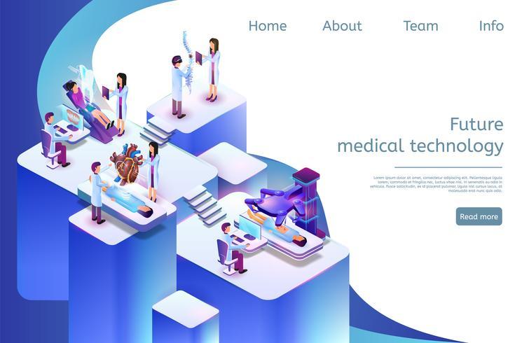 Tecnologia medica futura dell'insegna isometrica in 3D vettore