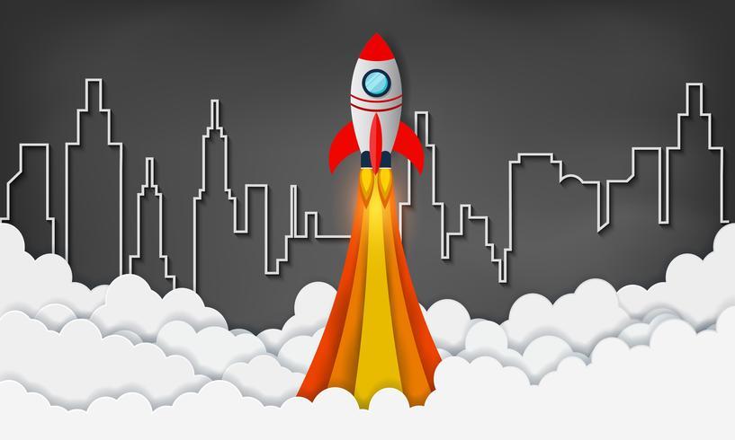 lancio dello space shuttle verso il cielo vettore