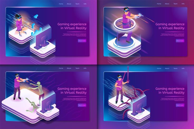 Isometrica Set Esperienza di gioco in realtà virtuale vettore