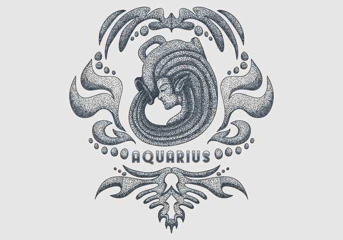 segno zodiacale Acquario vintage vettore