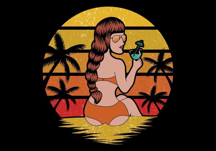 donna in vacanza al mare vettore