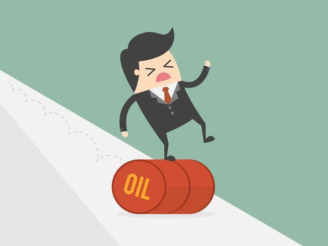 Uomo d'affari che equilibra sul barile da olio che rotola in discesa vettore