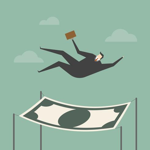 Uomo d'affari che cade in una rete di sicurezza finanziaria vettore