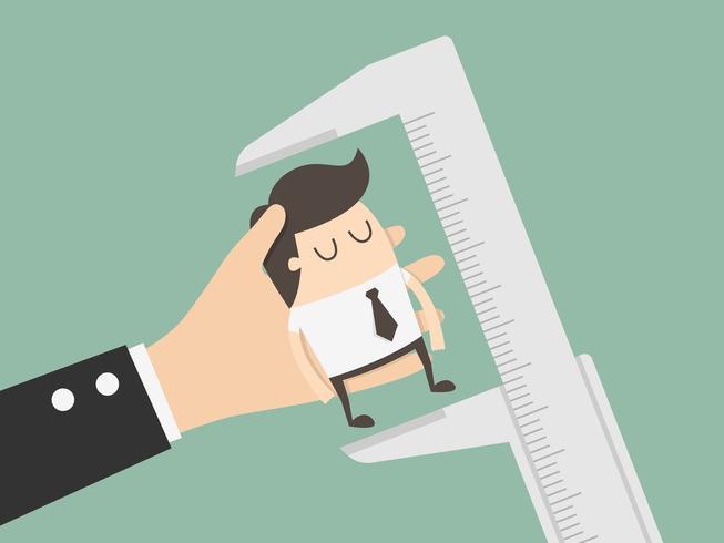 Uomo d'affari in fase di misurazione vettore