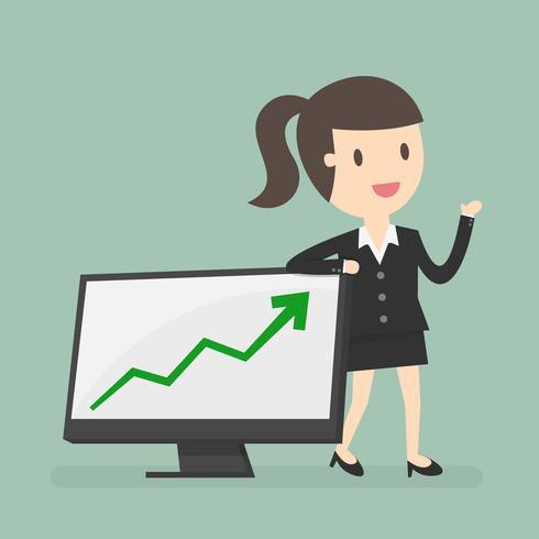 Donna di affari che presenta il grafico di crescita vettore