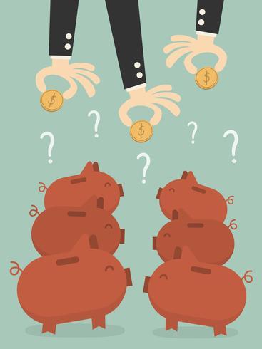 Mani degli uomini d'affari, mettendo le monete in salvadanai vettore
